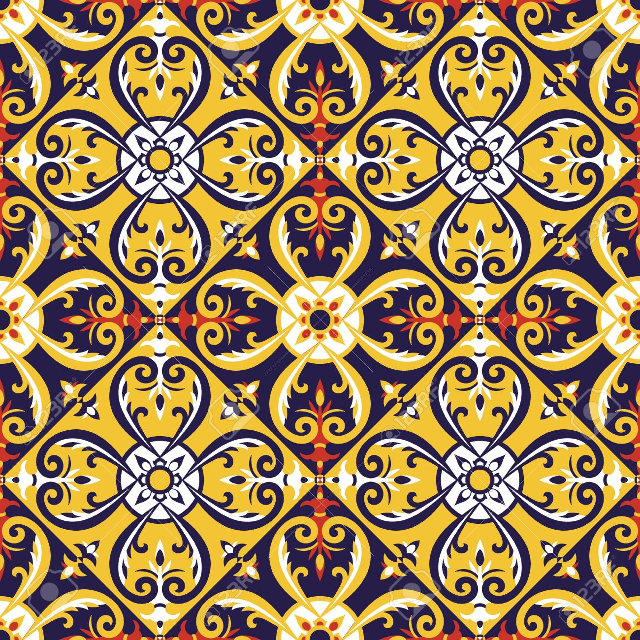 Italian Tiles Pattern Vector With Blue, Red, Yellow And White ...