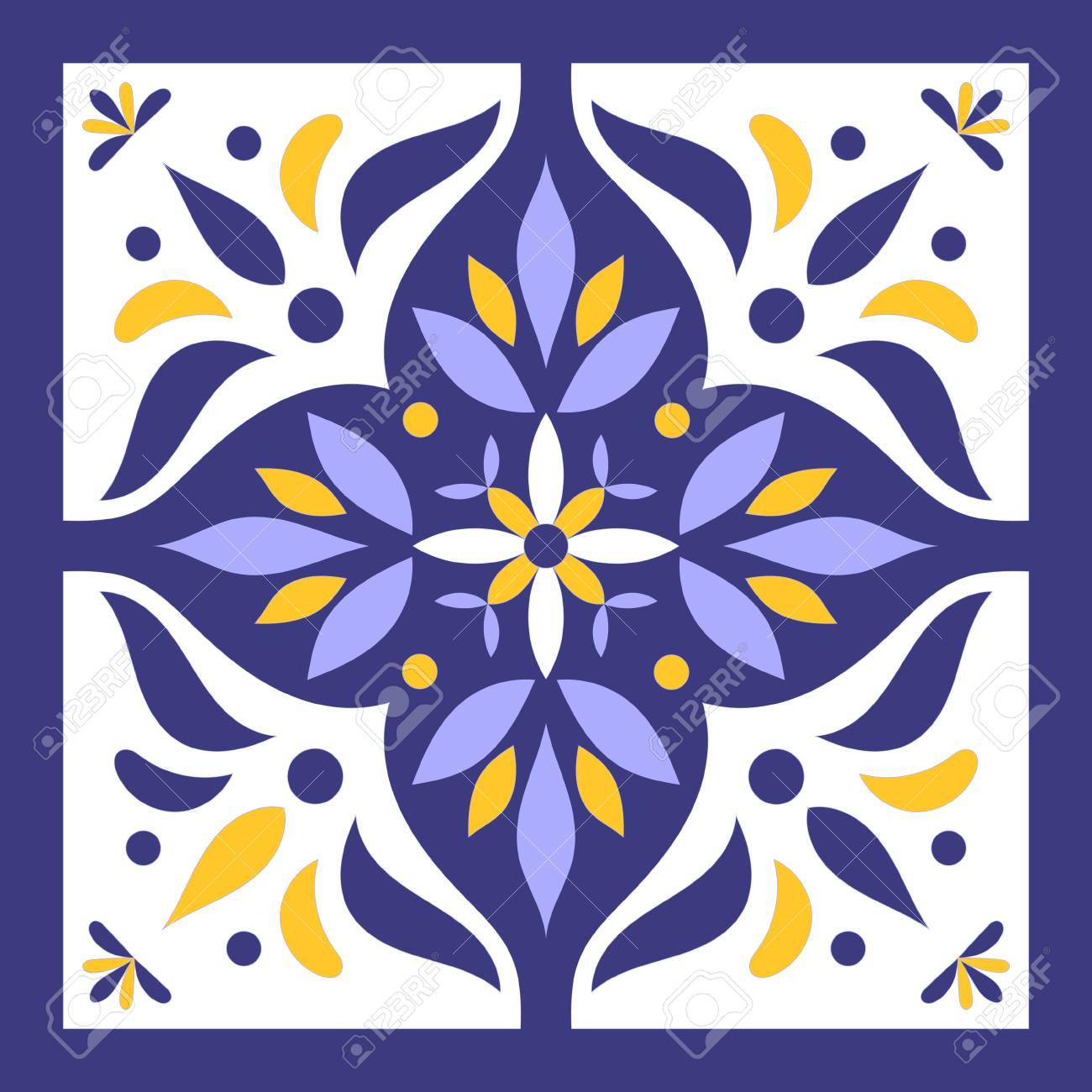 Salle De Bain Discac Loft ~ Vecteur De Tuile Bleu Jaune Et Blanc Mod Le De Carreaux Portugais