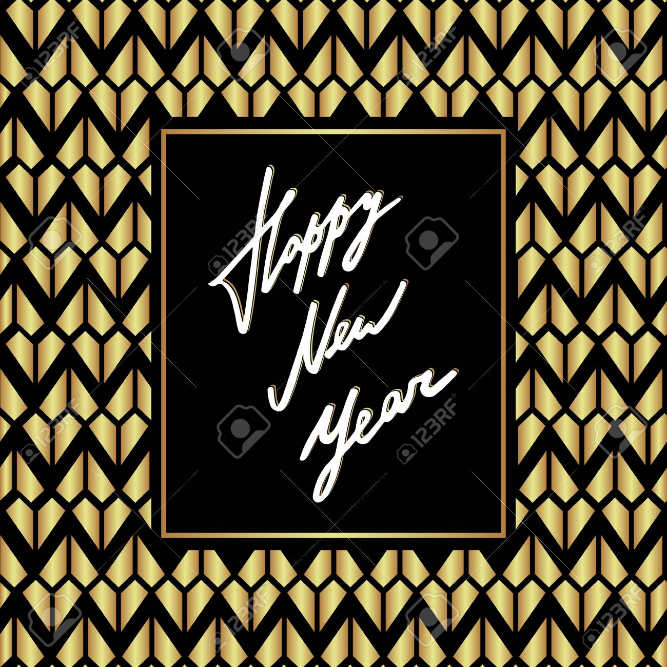luxury happy new year card template vector holiday design with golden glittering and geometric pattern