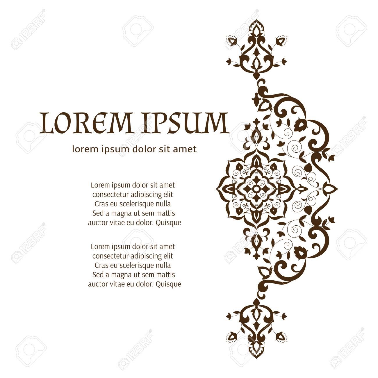 Umreißen Sie Blumenschablonenvektor Mit Platz Für Text. Indisches ...