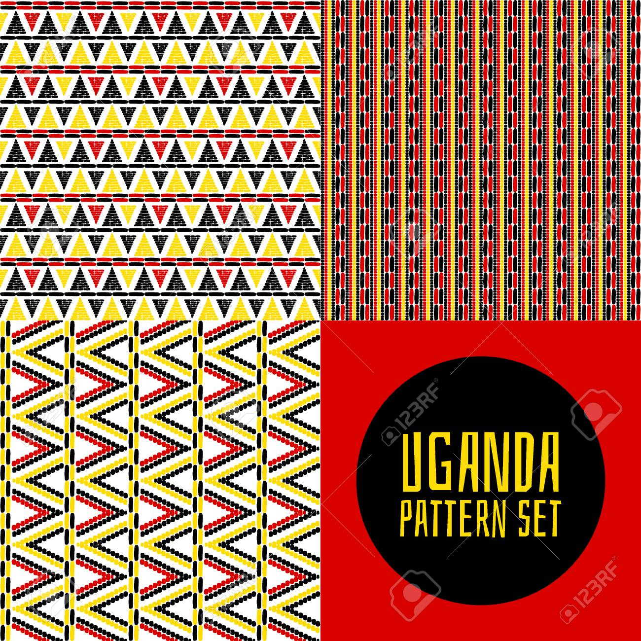 Set Of Tribal Pattern Vector Seamless Uganda African Print Design