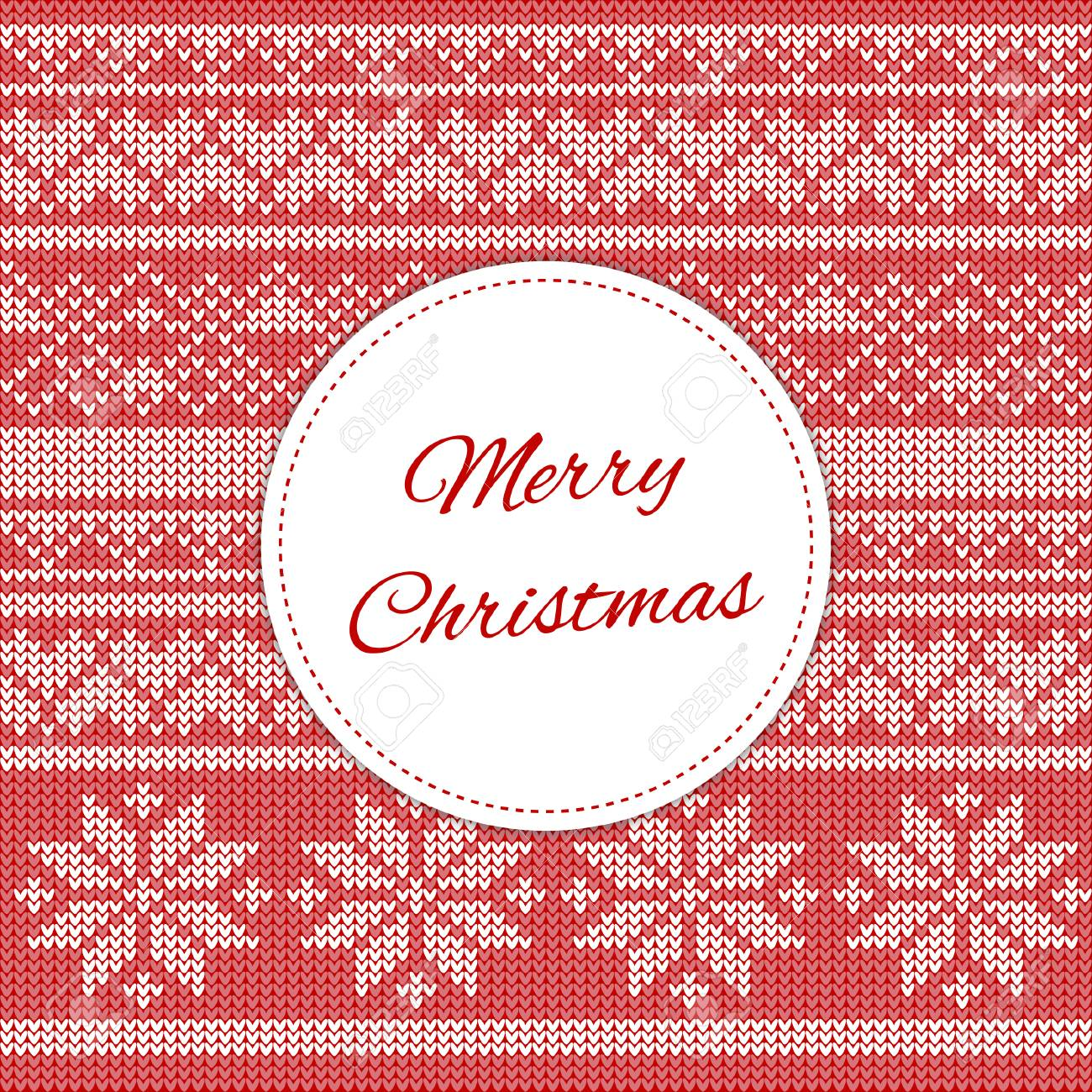 Merry Christmas Card Template Vector Red Print With Holiday