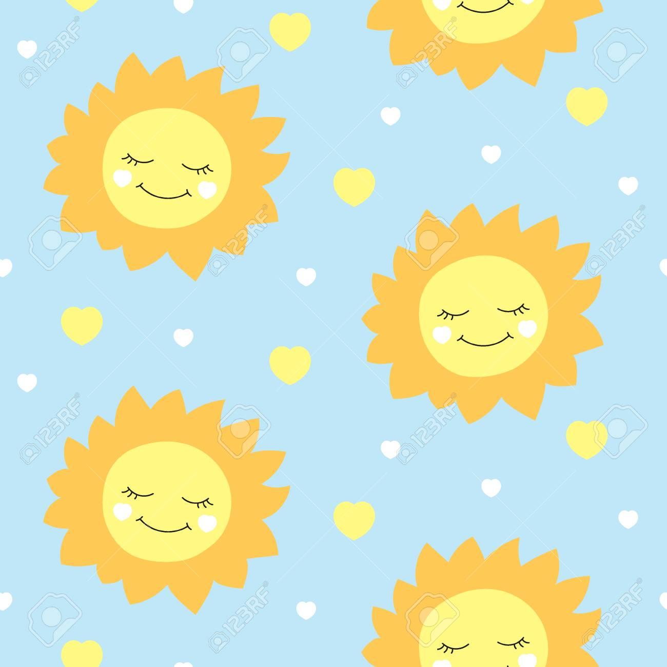 かわいい赤ちゃん太陽パターン ベクトル シームレス 子供は幸せな太陽
