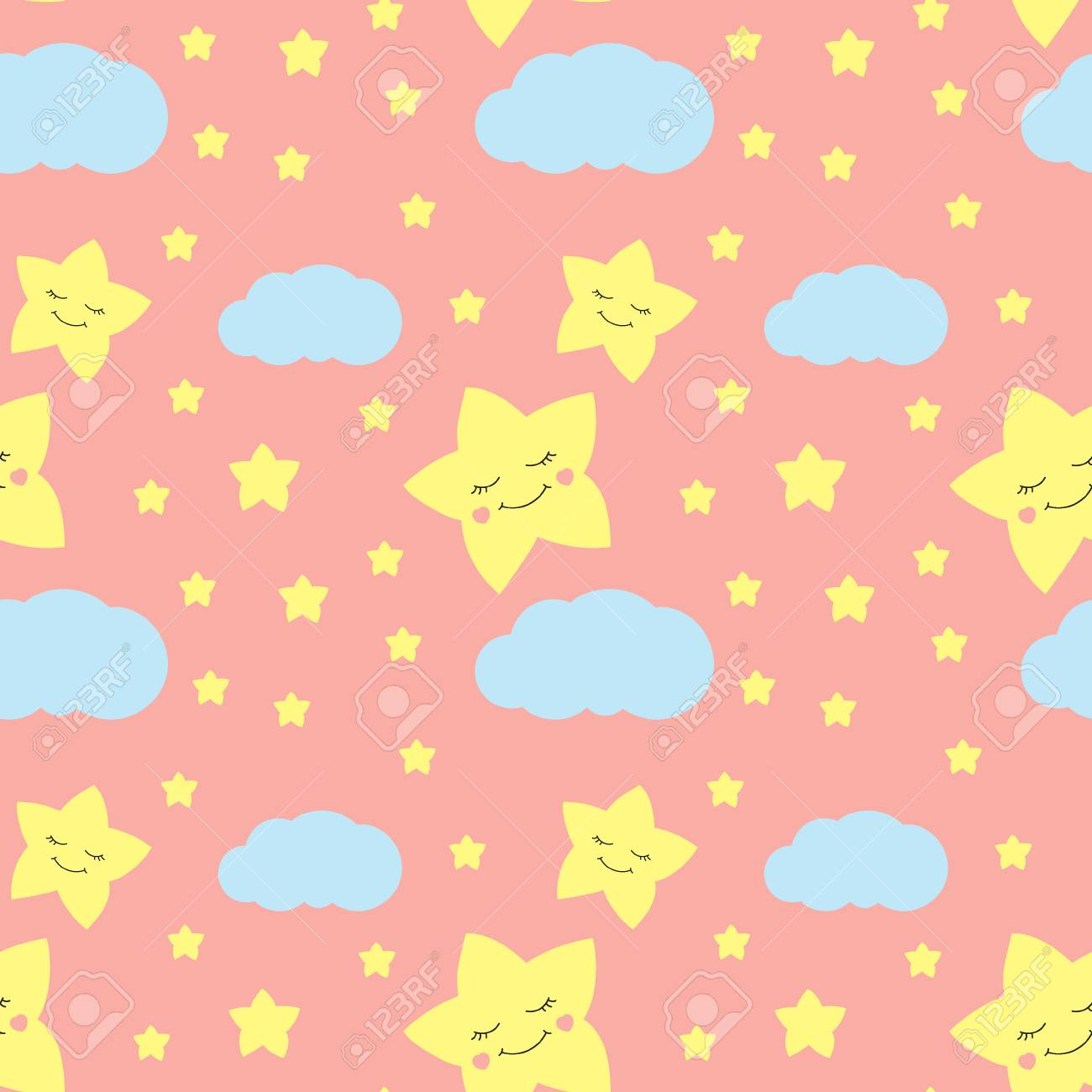 Cute Baby Star Pattern Vector Seamless Girl Print With Eyelash Royalty Free Cliparts Vectors And Stock Illustration Image 90533379
