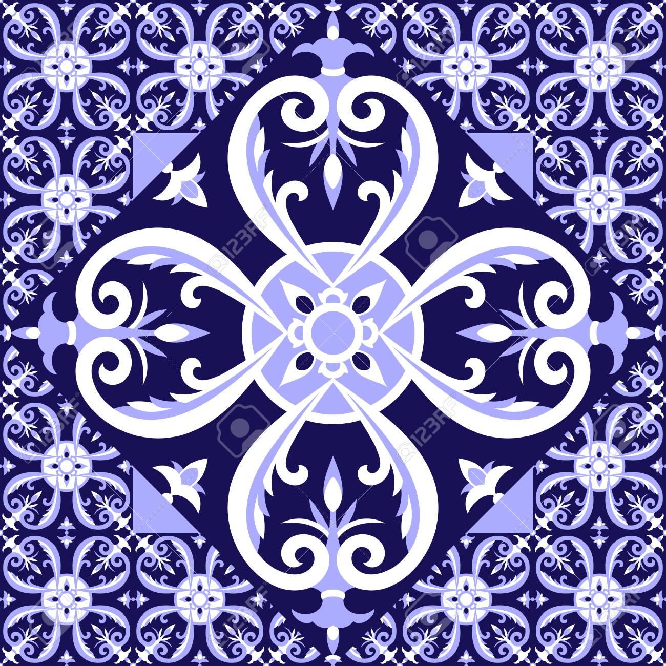 Carrelage Bleu Blanc Espagnol Modèle De Plancher Avec Des Carreaux - Carrelage bleu