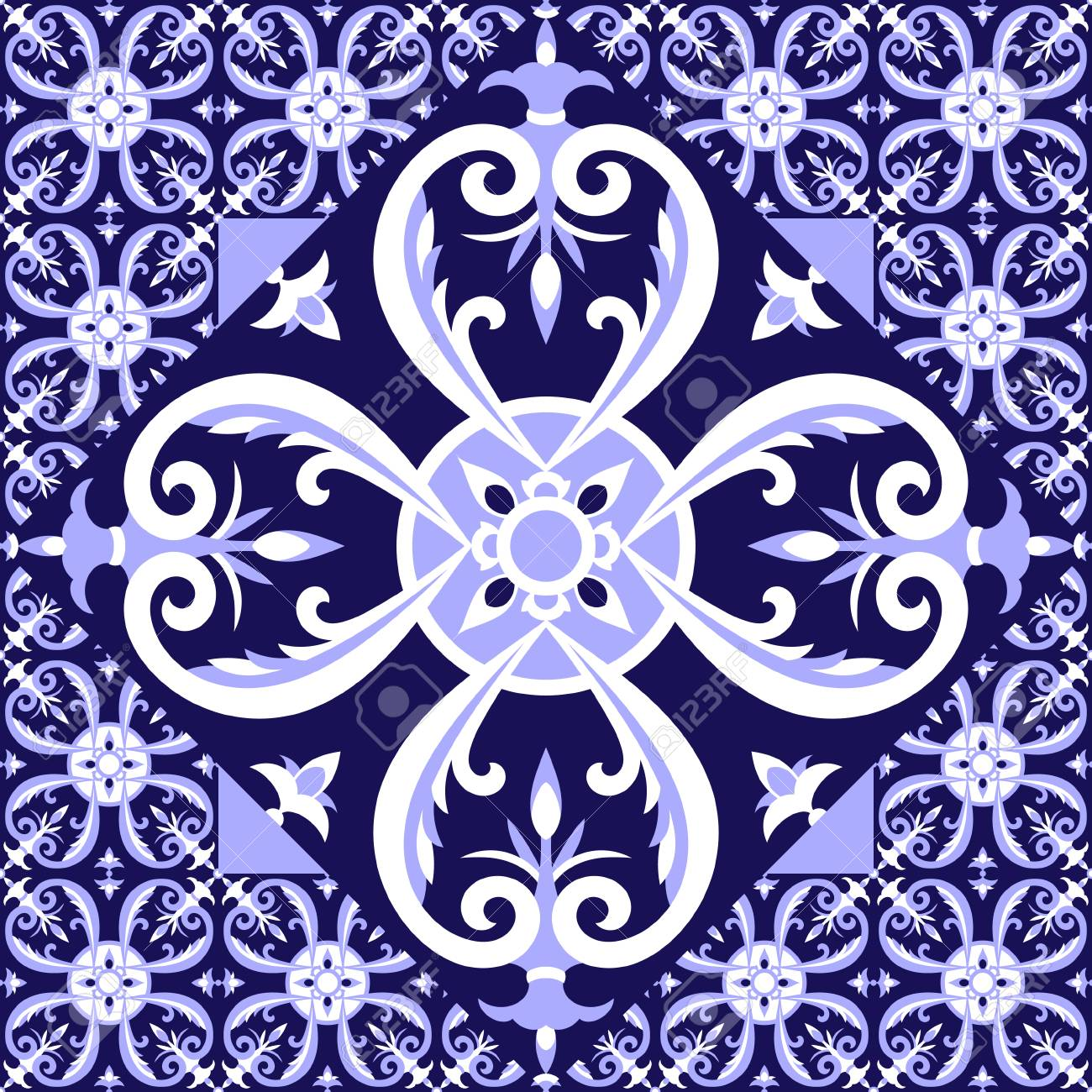 Spanish white blue tiles floor pattern vector with ceramic tiles spanish white blue tiles floor pattern vector with ceramic tiles big tile in center is dailygadgetfo Image collections