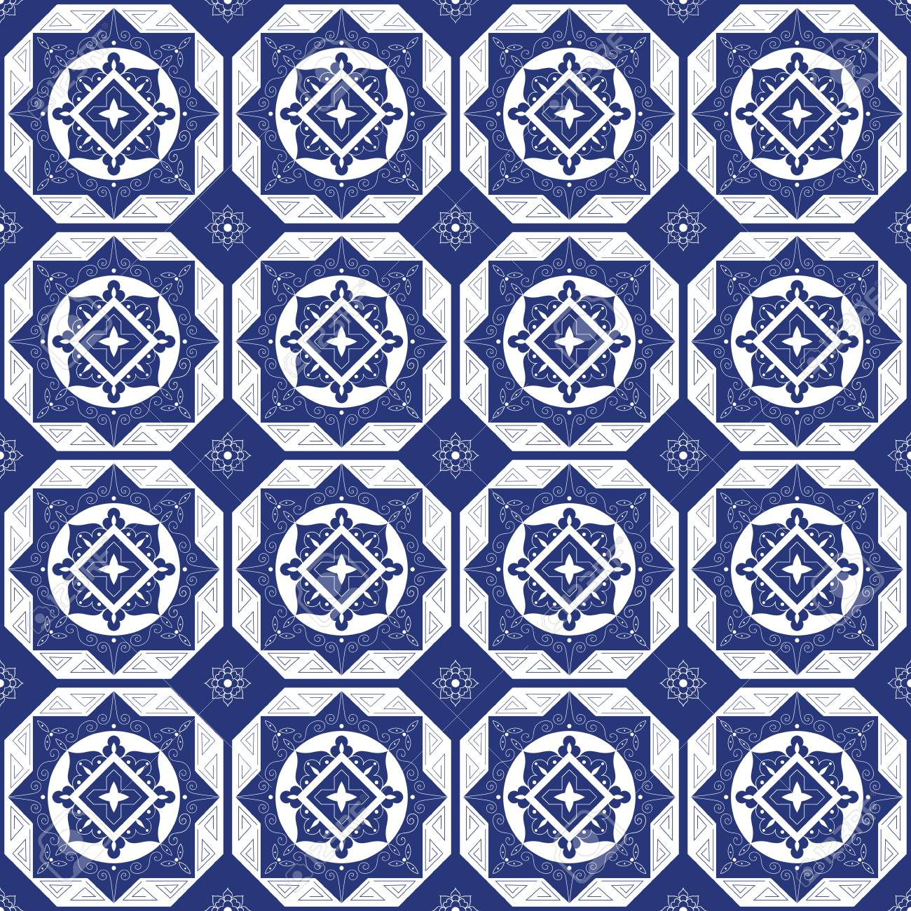 Holland blue white porcelain tile floor - mosaic tiled pattern. Abstract geometric seamless background. Ornament fabric, ceramic or surface design pattern vector. - 91368434