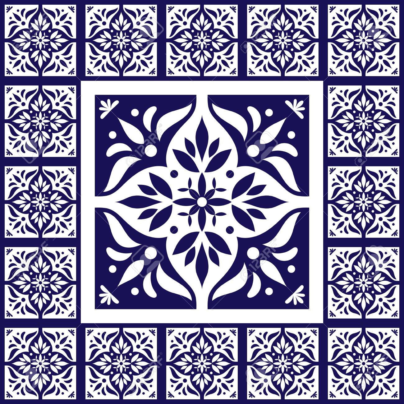 Blue white tiles floor - pattern vector with ceramic cement tiles