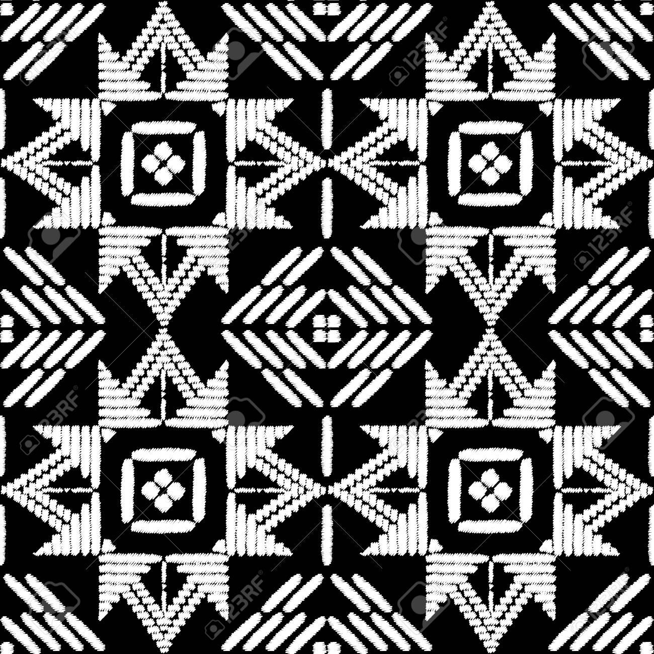 Vector Transparente De Diseño De Patrón De Bordado Azteca. Textura ...