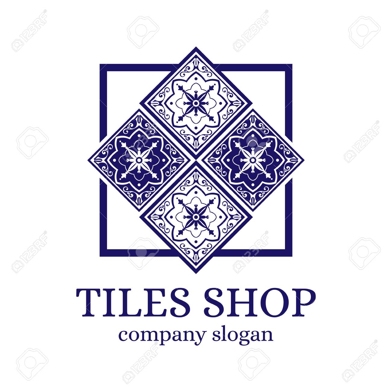 Tiles shop logo template design vector branding identity emblem tiles shop logo template design vector branding identity emblem with delft mosaic ornament for dutch dailygadgetfo Image collections