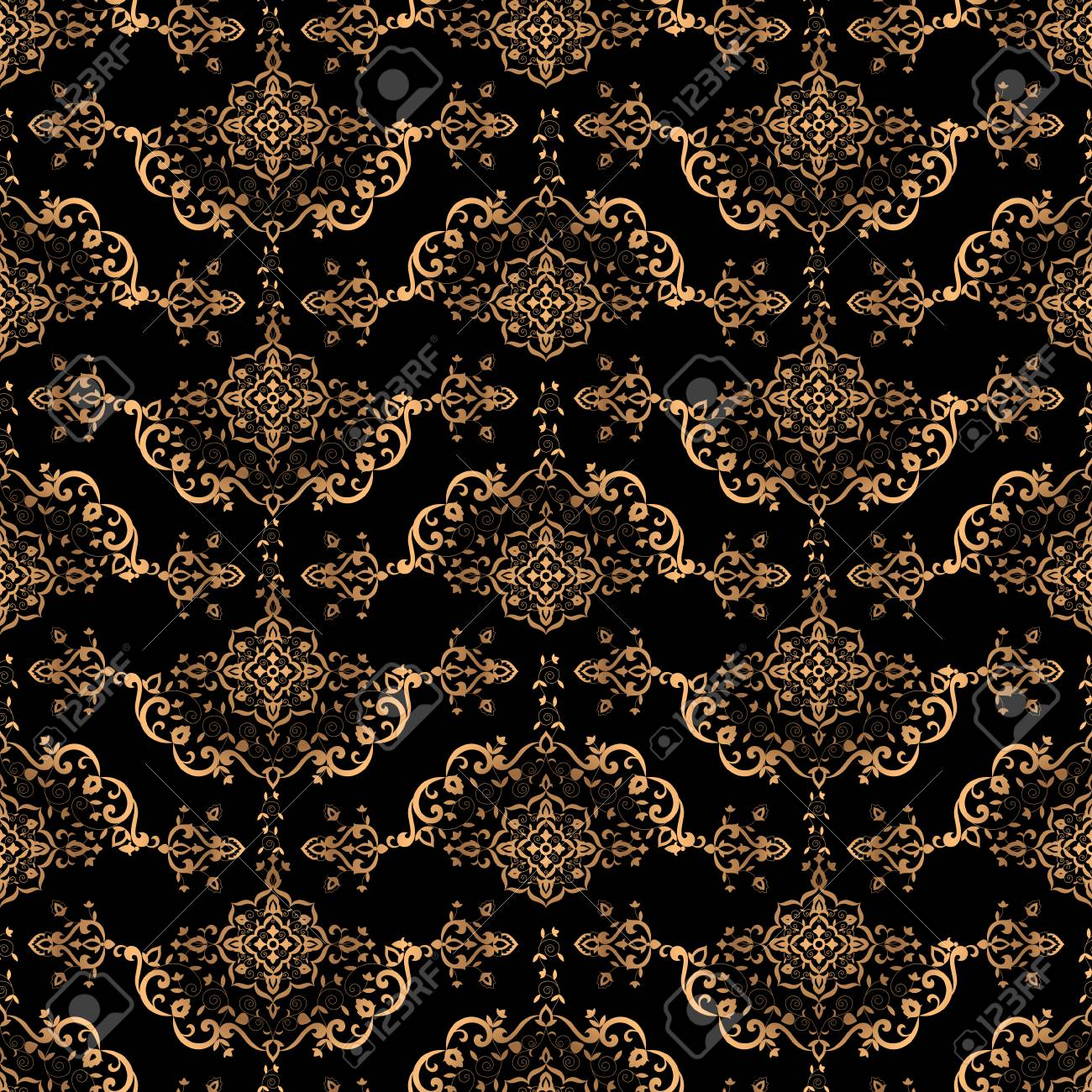 Luxury Background Design Pattern Vector Seamless Gold Black Vintage Ornament Royal Victorian Print