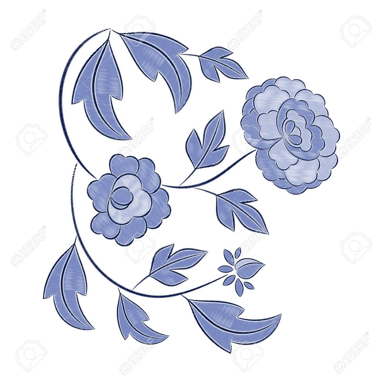 Vintage Floral Embroidery Pattern Vector Winter Blue Flower