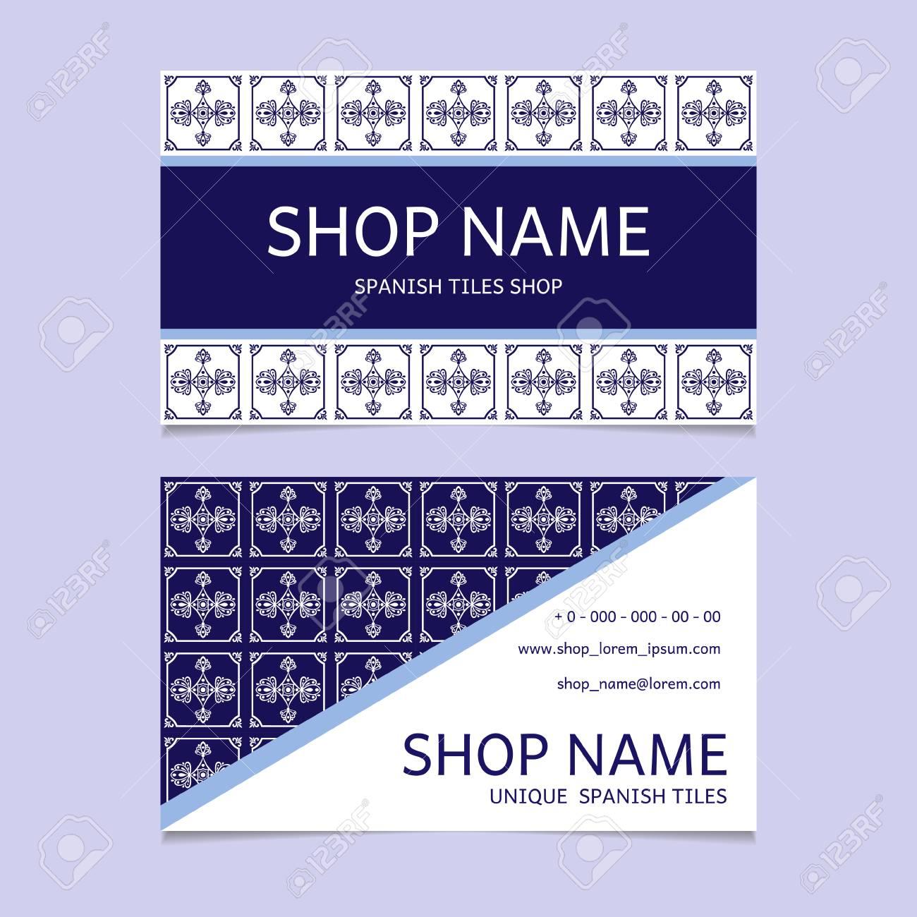 Tiles shop identity template design visiting card with ceramic tiles shop identity template design visiting card with ceramic ornament for spanish majolica store colourmoves