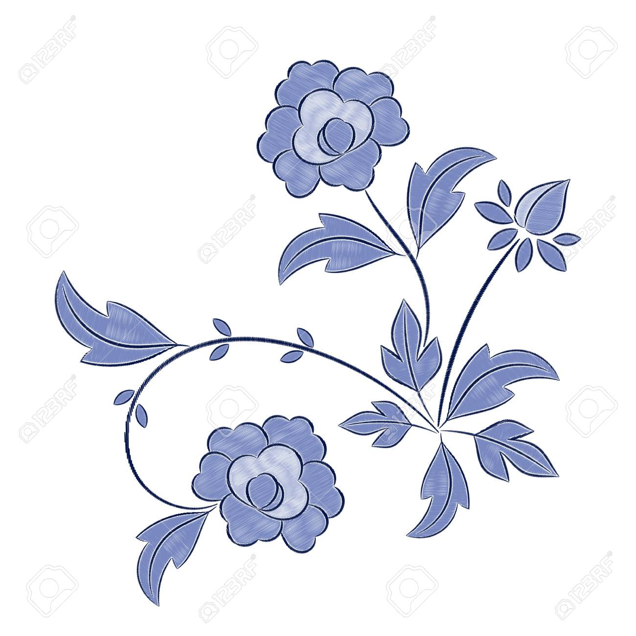 Vintage Floral Embroidery Pattern Vector Peony Blue Flower Ornament Royalty Free Cliparts Vectors And Stock Illustration Image 96218080