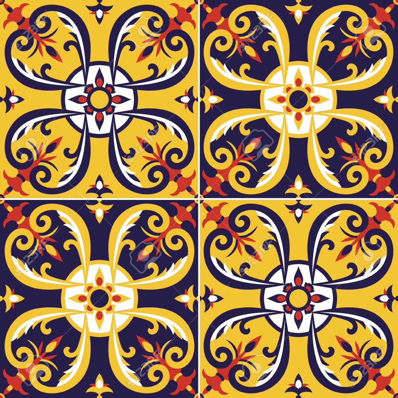 Tile Pattern Vector Seamless. Portugal Azulejos, Mexican Talavera ...