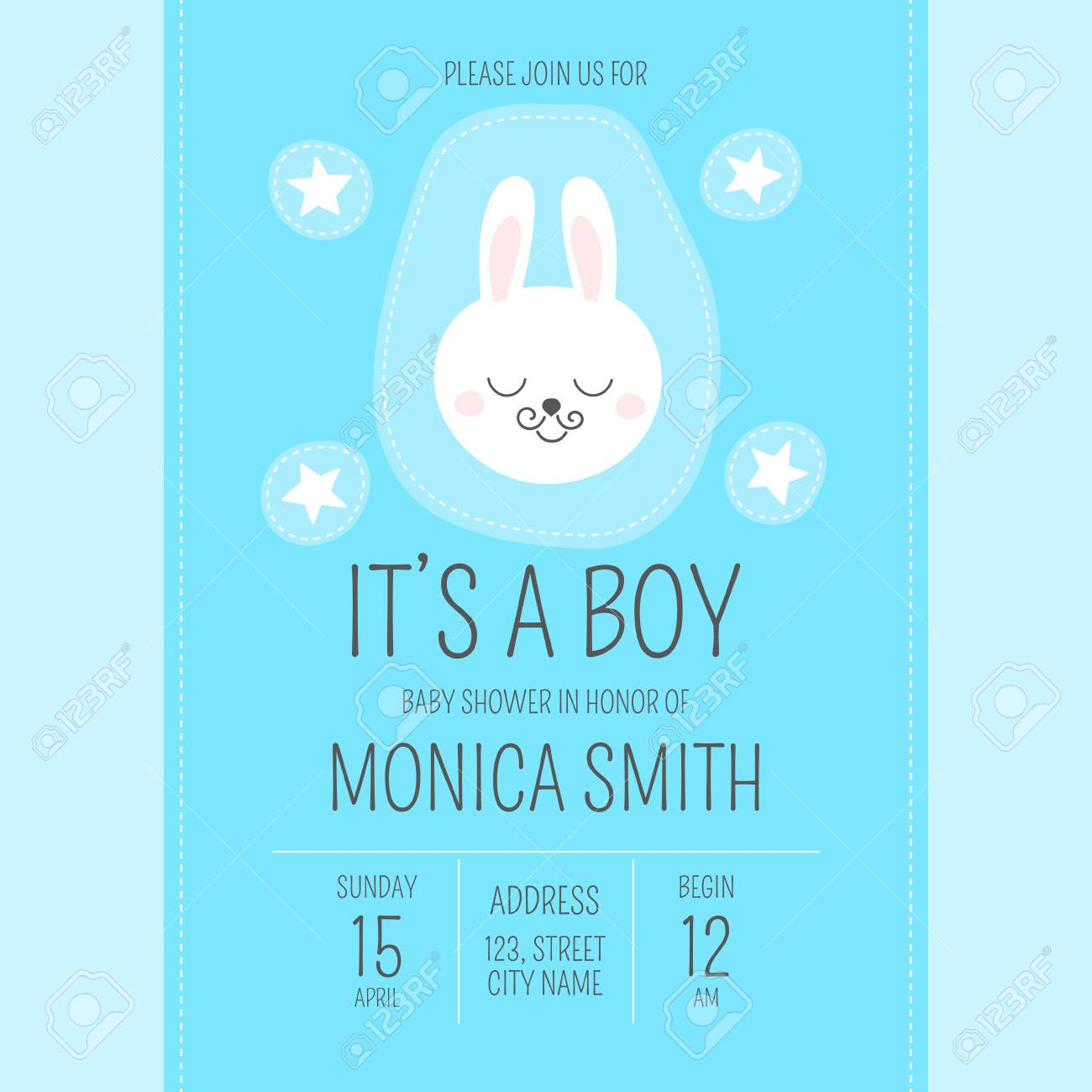 Cute baby shower boy invite card vector template cartoon animal it cartoon animal its a boy illustration blue design with little bunny and stars patches kids newborn poster or birthday party invitation stopboris Gallery