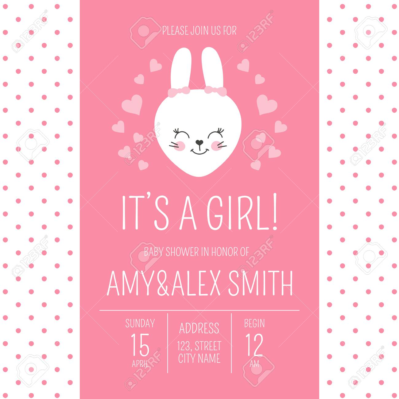 Cute Baby Shower Girl Invite Card Vector Template Cartoon Animal Itâ S A Girl Illustration Pink Design With Little Bunny And Hearts Kids Newborn