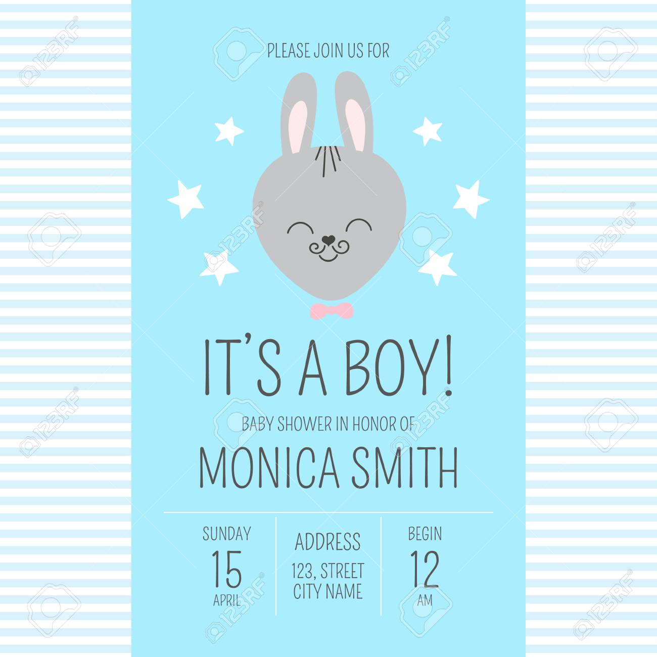 Cute baby shower boy invite card vector template cartoon animal it kids newborn poster or birthday party invitation background cute baby shower boy invite card vector template cartoon animal its a boy stopboris Choice Image