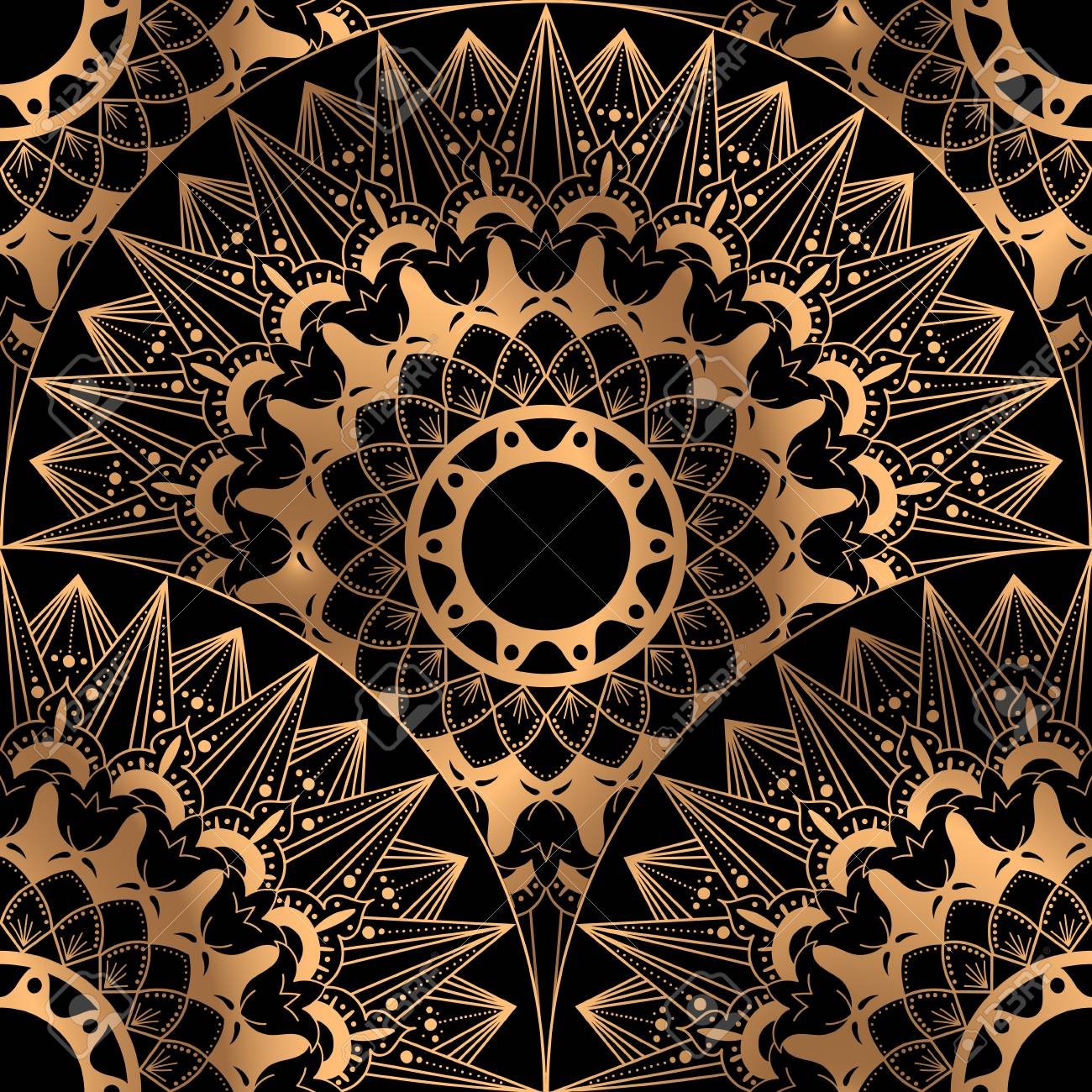 Golden Luxury Background Vector Gold Black Scale Pattern Seamless Design Indian Mandala Ornament For