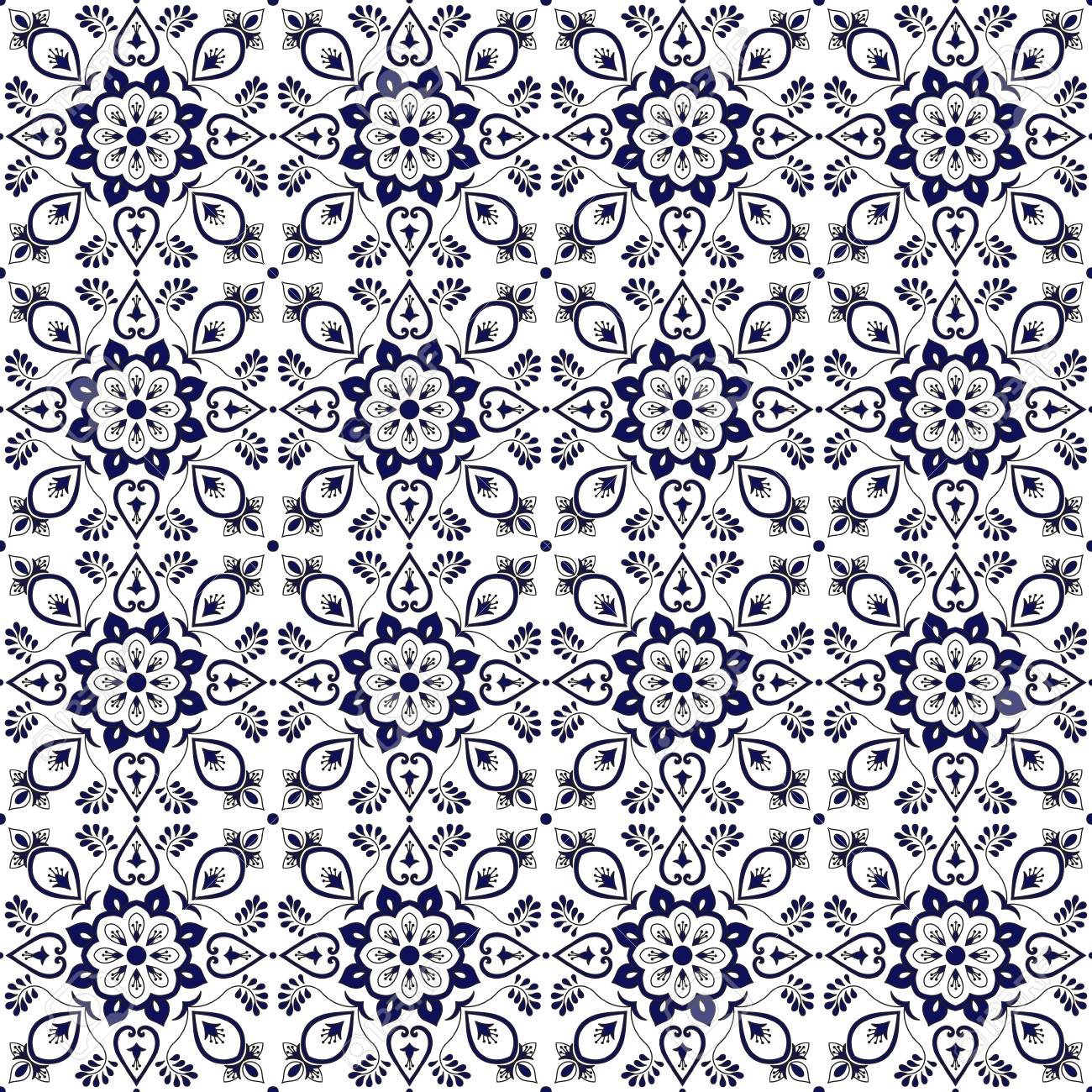 Tile Pattern Vector With Blue And White Flower Ornaments. Portuguese ...
