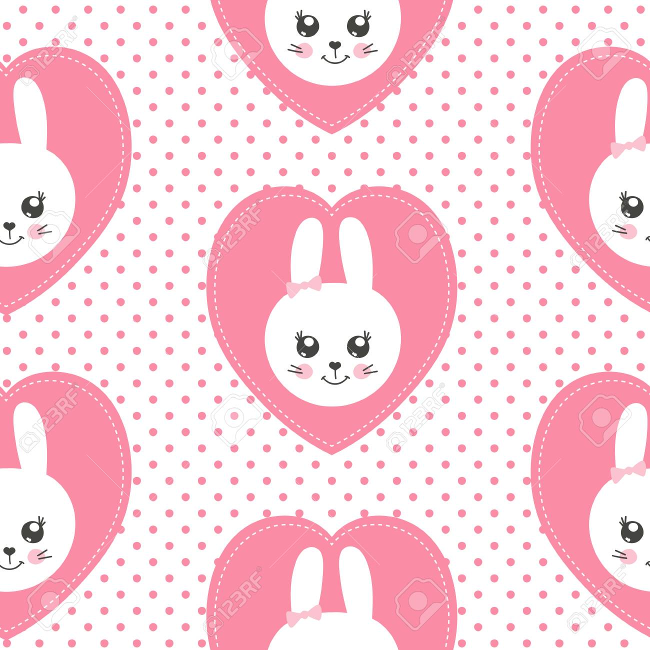 Cute Baby Pattern With Little Bunny Cartoon Animal Girl Print Royalty Free Cliparts Vectors And Stock Illustration Image 103404630