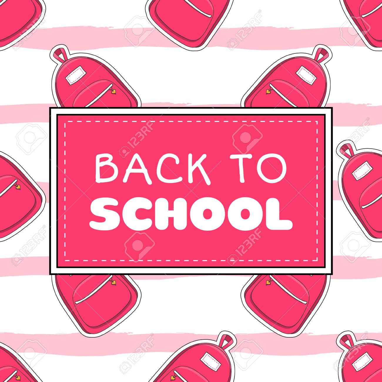 Back To School Banner Template Vector. Cute Girls Concept With ...
