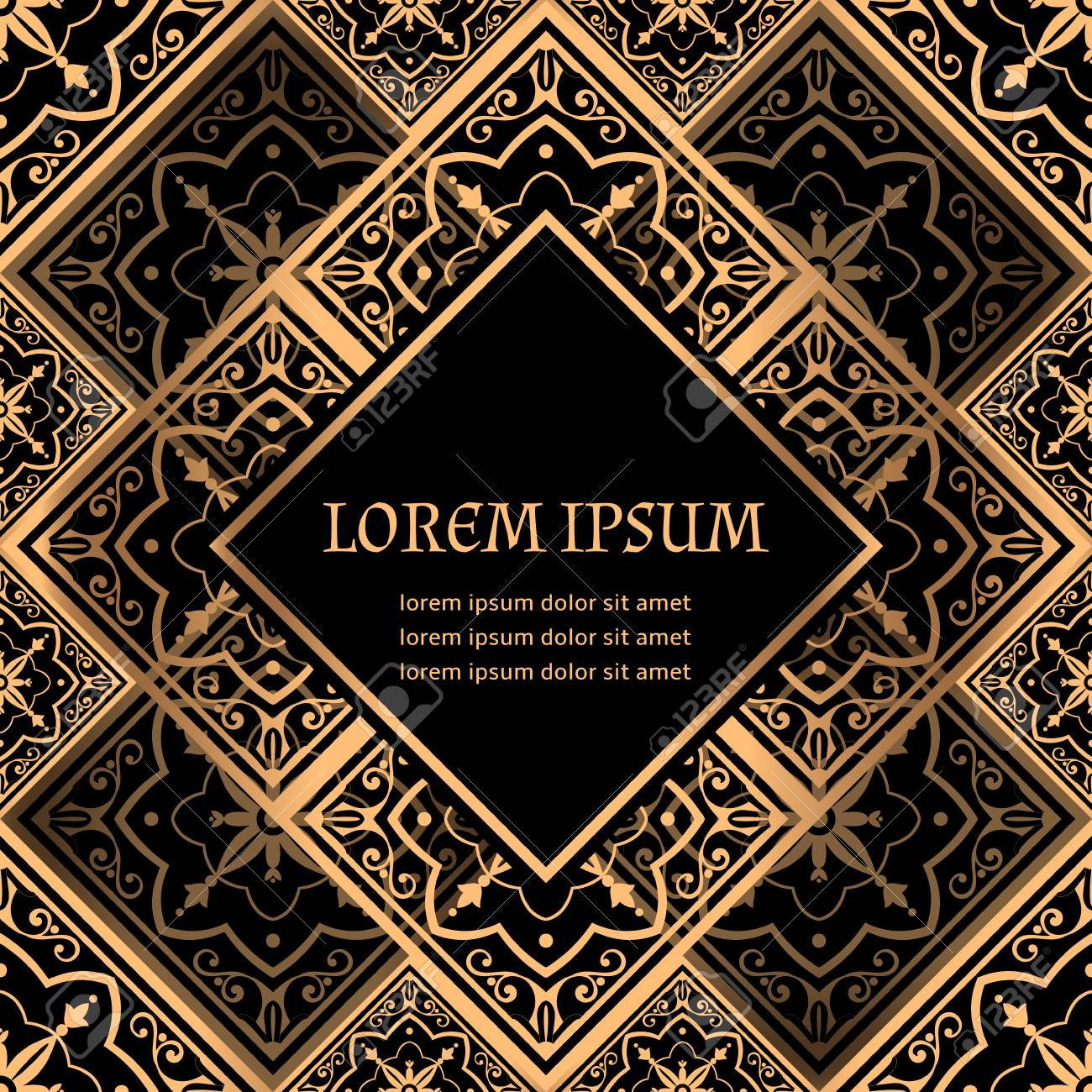Luxury Background Vector Golden Royal Pattern Victorian Frame