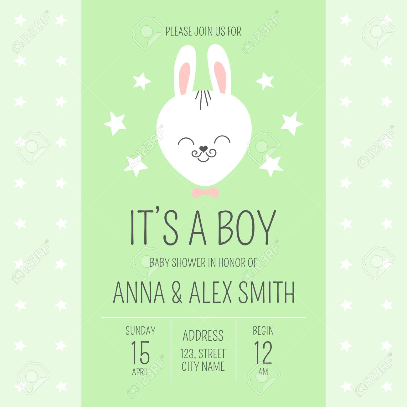 Cute Baby Shower Boy Invite Card Vector Template Cartoon Animal