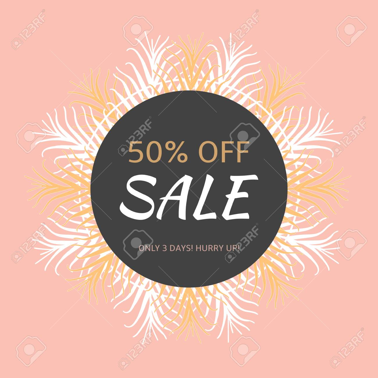 Luxury Sale Banner Template Vector. Retro Floral Background ...