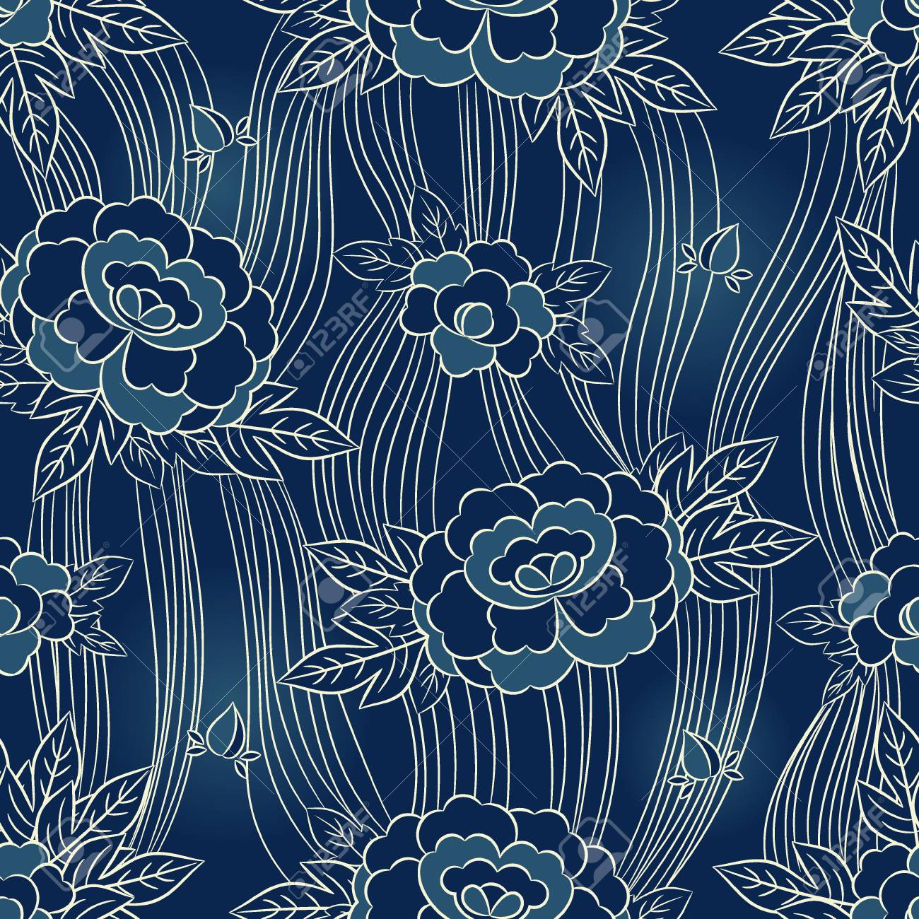 Peony Japanese Pattern Seamless Vector Oriental Floral Background