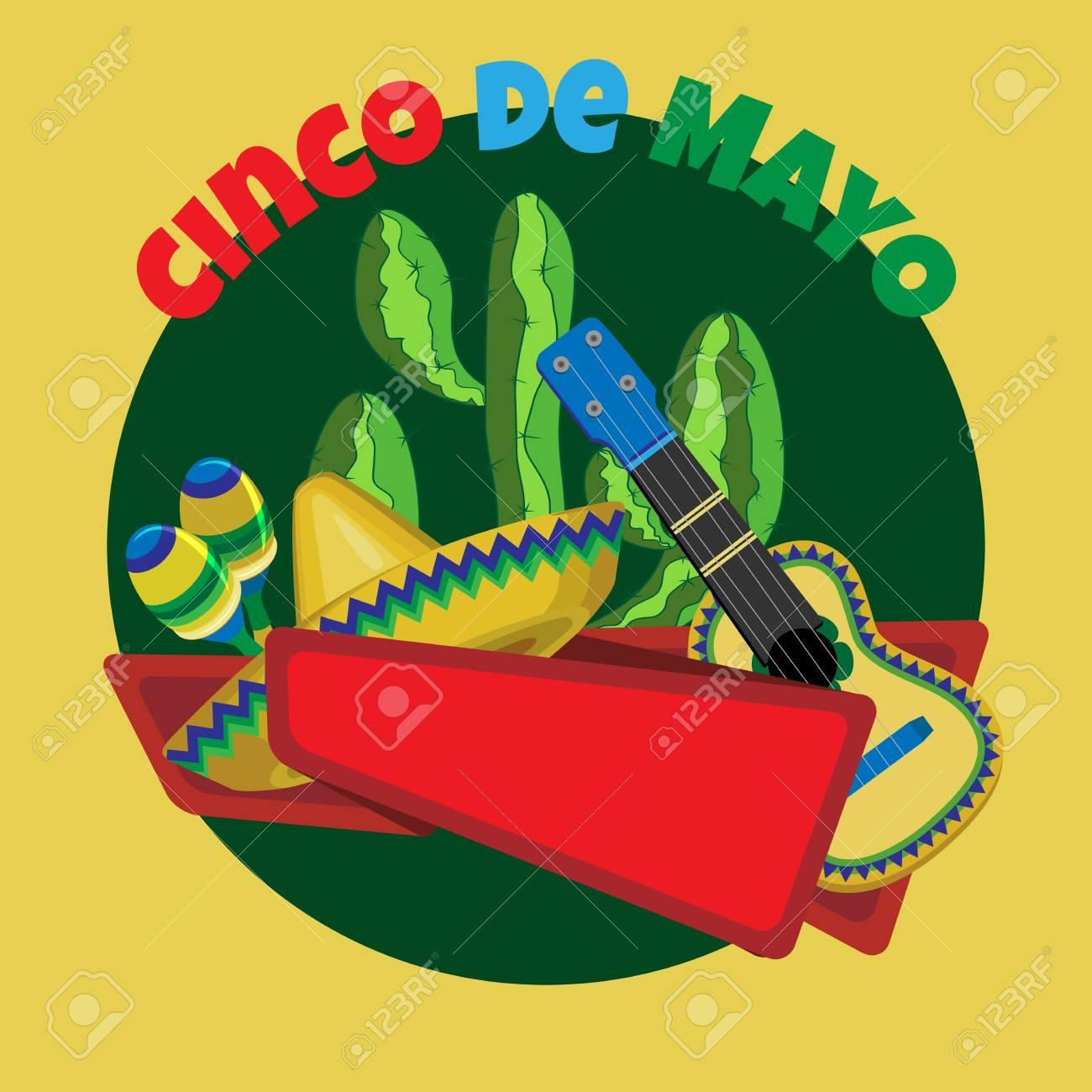 Imagen Del Vector Para Unas Vacaciones De Cinco De Mayo.Cactus ...
