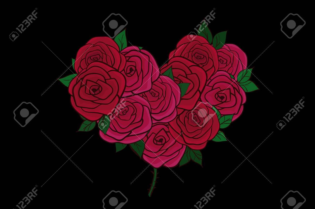 Carte De Voeux Avec Un Coeur De Dessin Anime Plat De Roses Rouges