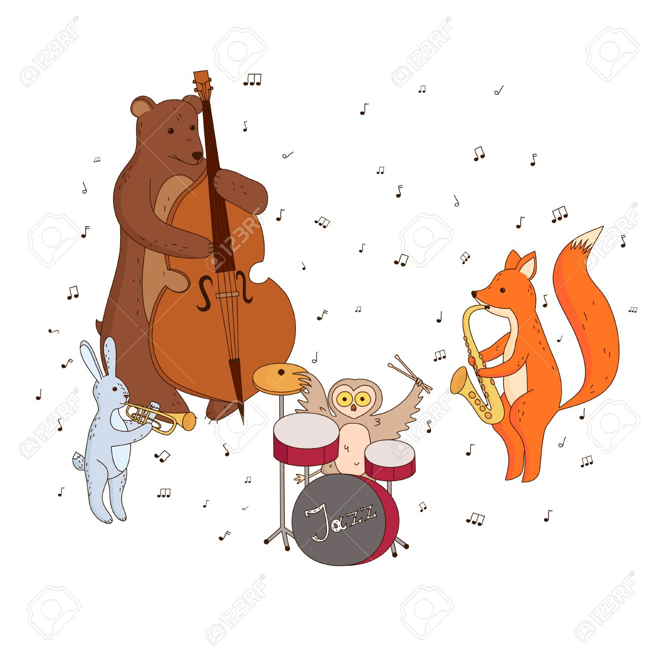 かわいい森の動物が楽器を演奏します。音楽グループ、ジャズ バンド