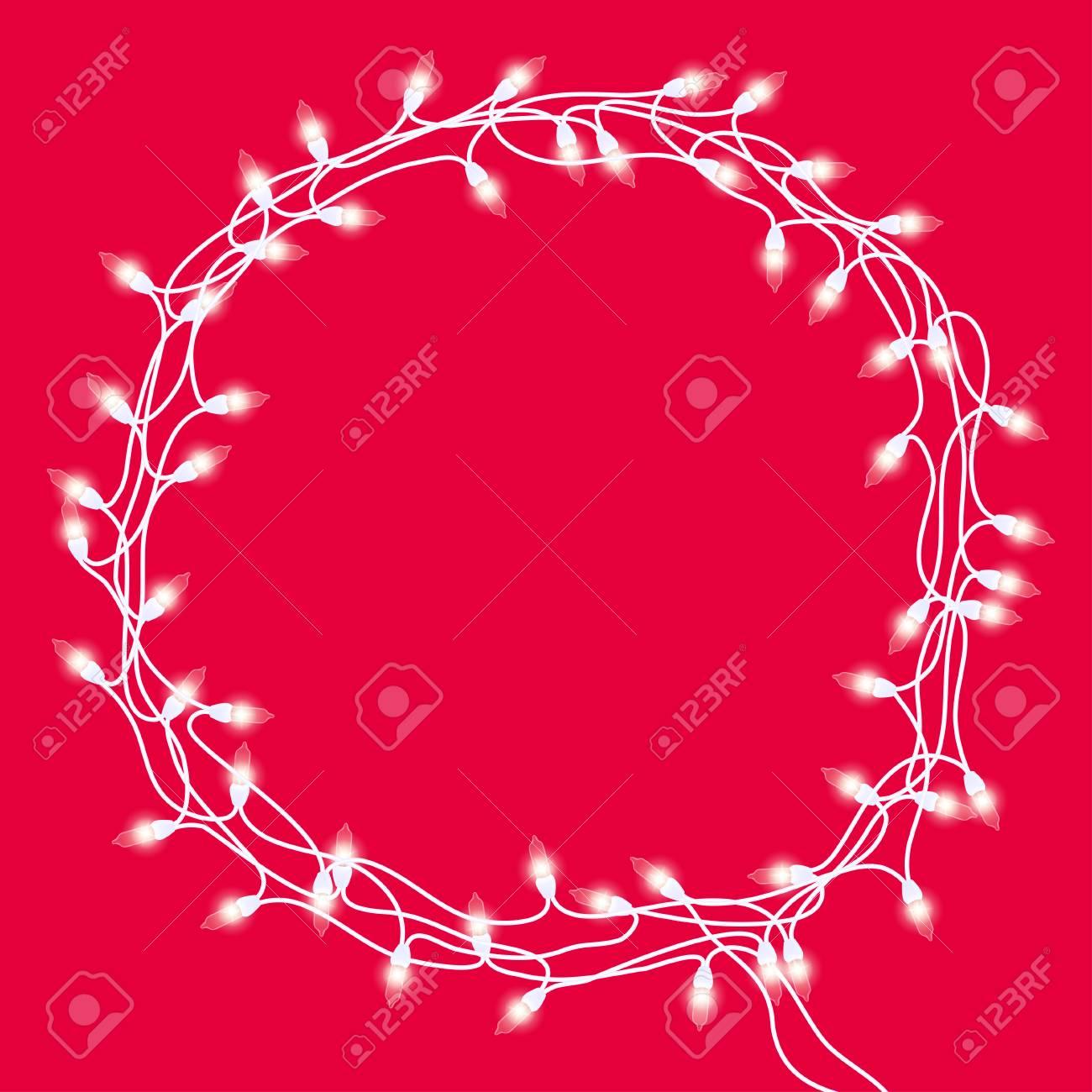 Weihnachtskranz Oder -rahmen Mit Weißer Girlande Mit Glühenden ...