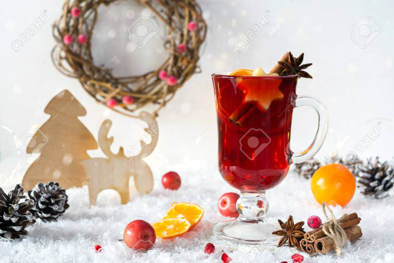 stock photo wooden vintage rustic christmas decoration and hot mulled spiced red wine in glass mug interior eco decor christmas or new year card