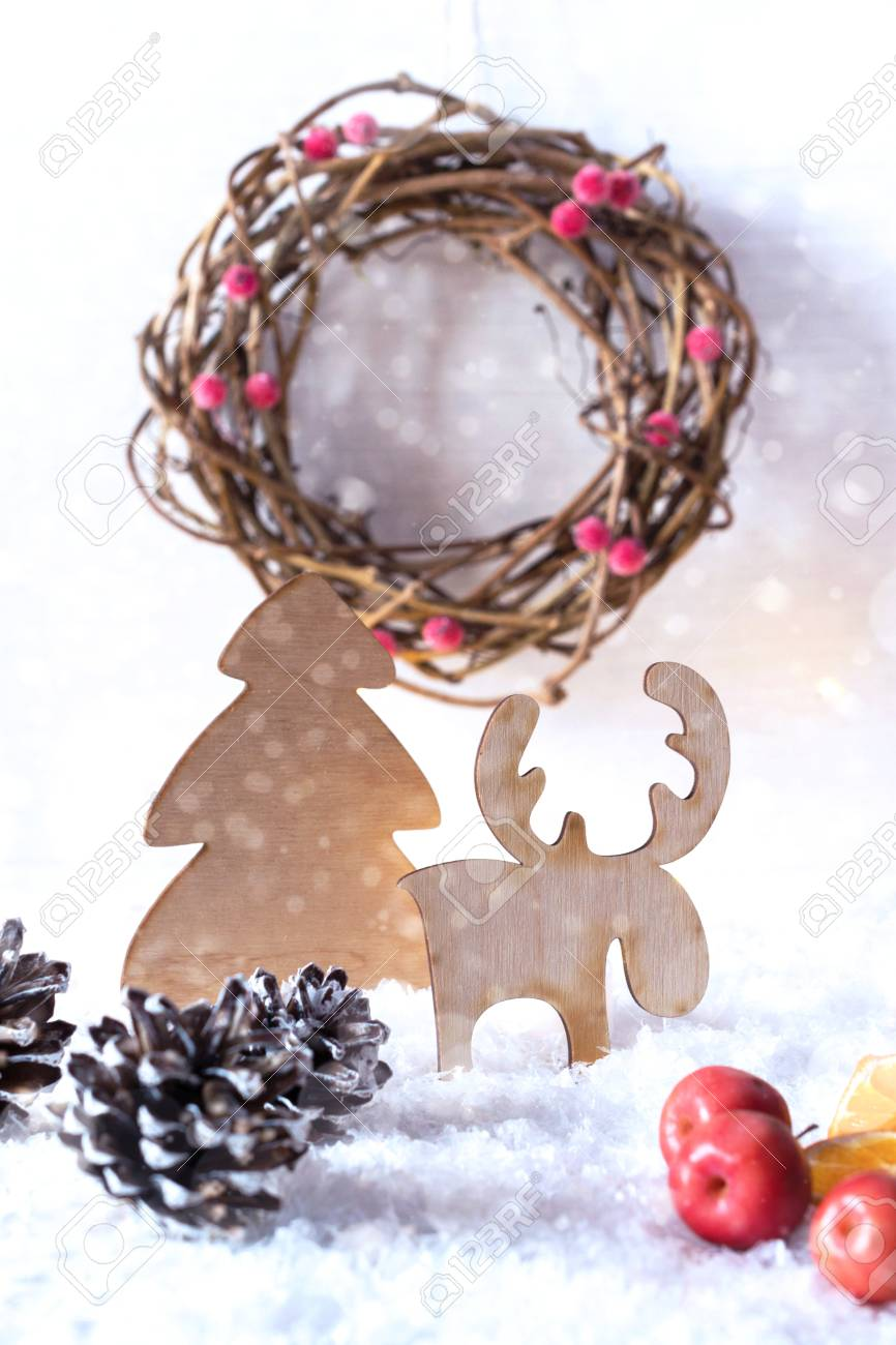 stock photo wooden vintage rustic christmas decoration interior eco decor christmas or new year card