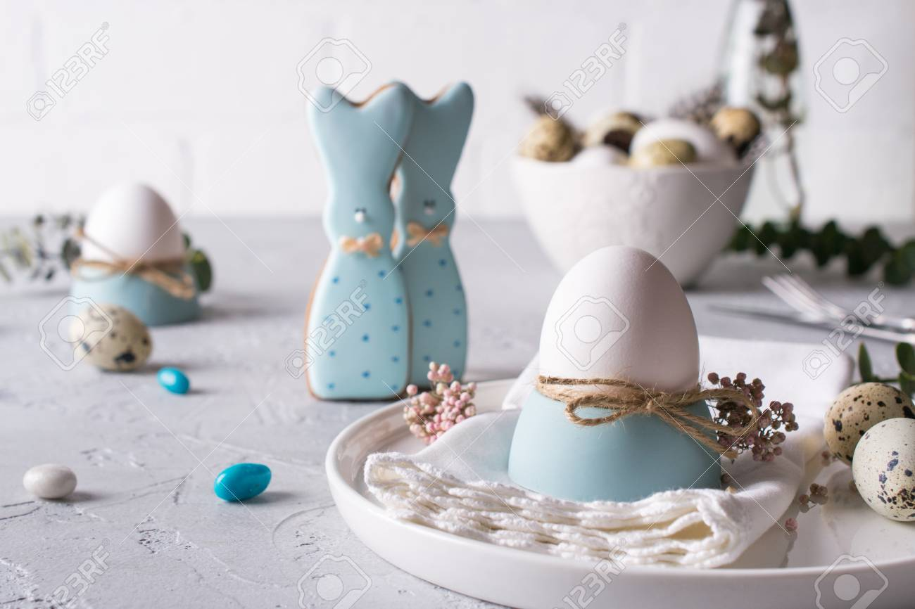 Homemade Easter Cookies In The Shape Of A Funny Bunny Quail