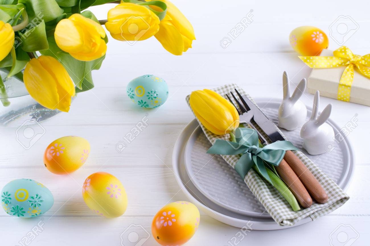 Spring Easter Background For Menu Easter Egg Decoration Bunny Stock Photo Picture And Royalty Free Image Image 118936614