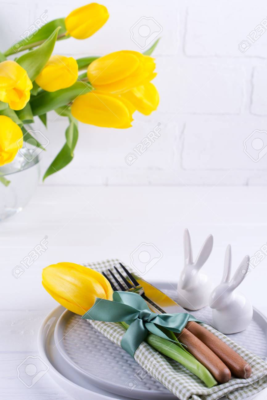 Spring Easter Background For Menu Easter Egg Decoration Bunny Stock Photo Picture And Royalty Free Image Image 118936617