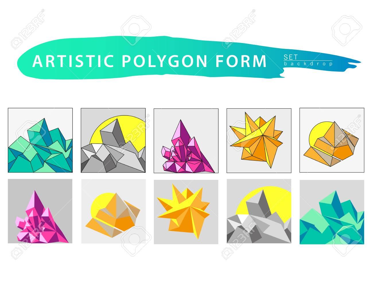 Jeu De Forme Vecteur Artistique Polygone En Toile De Fond Forme