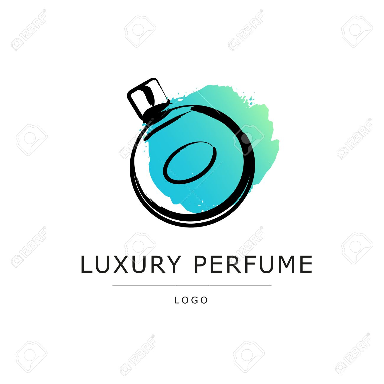 Vector Artistic Perfume Sketch Logo Isolated On White Background ...
