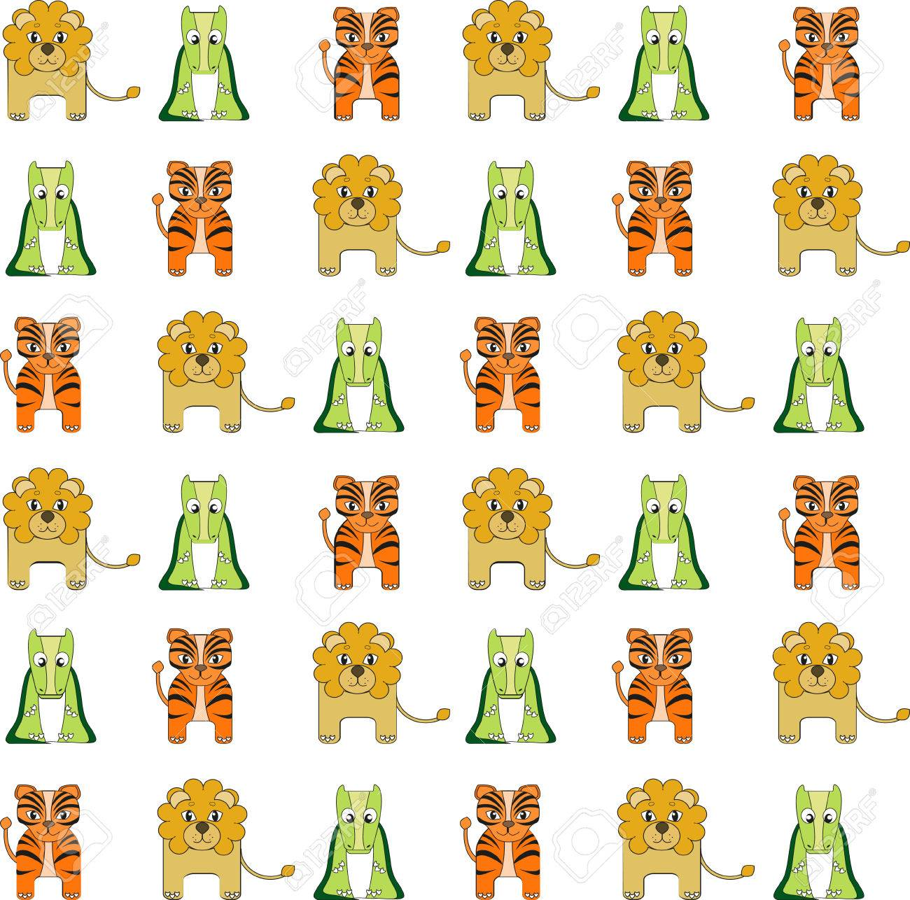 Cute Seamless Vector Background With African Animals. Tiger ...