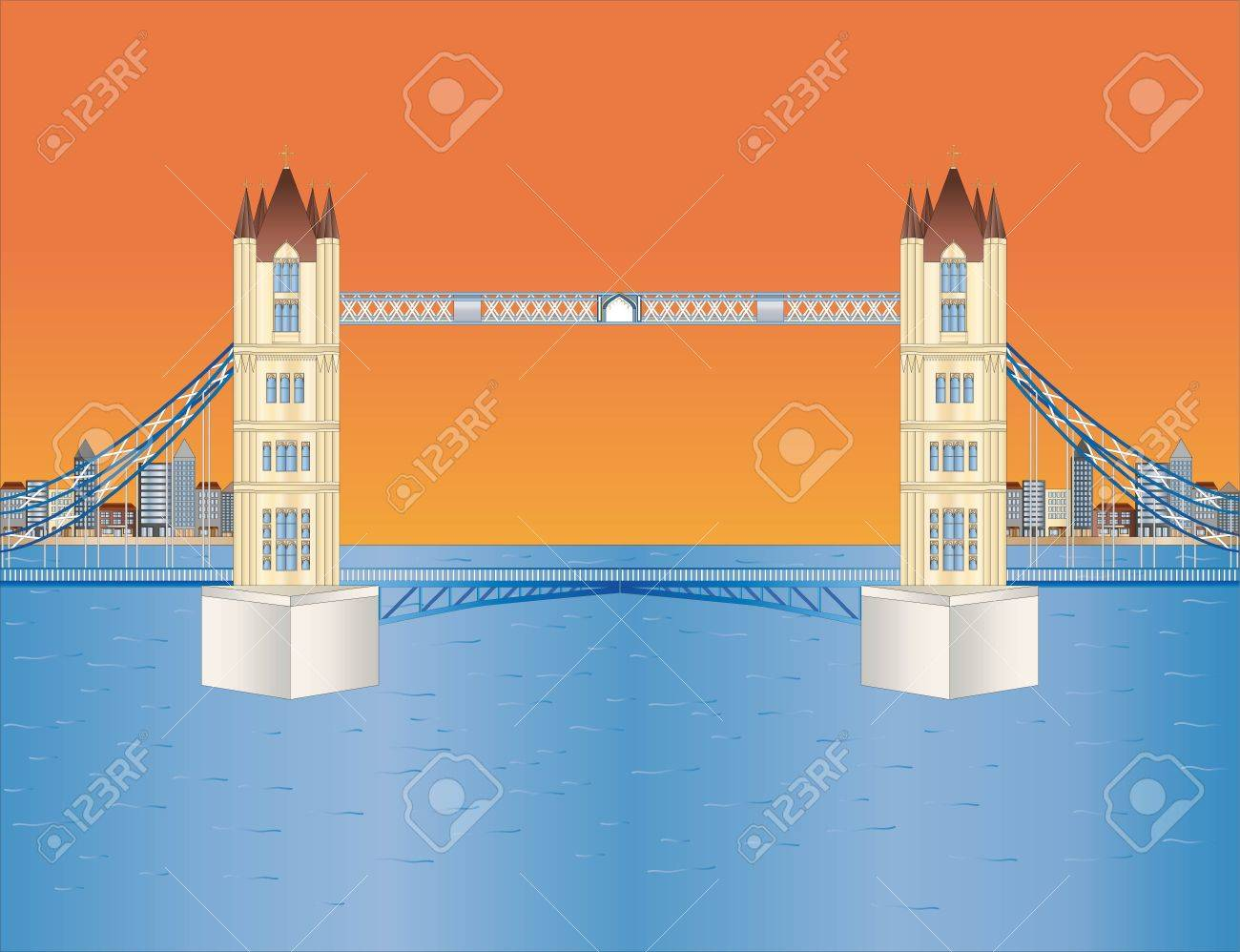 tower bridge at sundown Stock Vector - 9595869