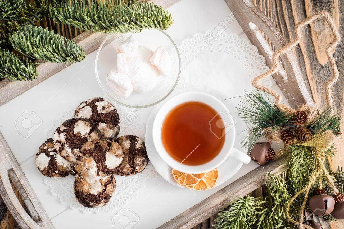 Weihnachtsplätzchen Schokoladenplätzchen.Stock Photo