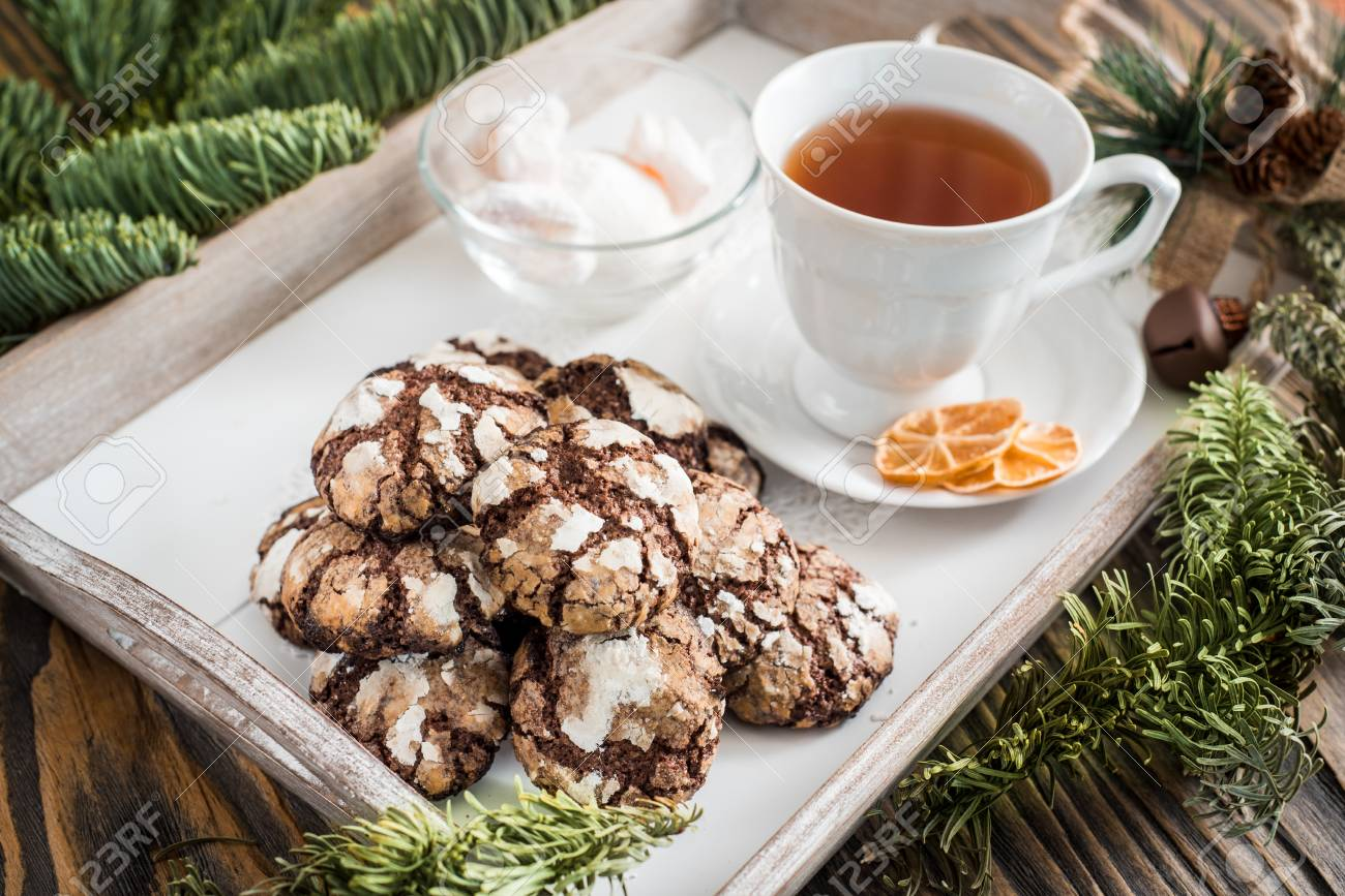 Chocolate Cookies Cookie With Cracks Cracked Chocolate Biscuits