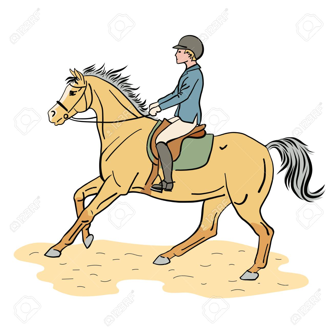 Equestrian Sport A Color Illustration Of A Boy Riding On A Pony Royalty Free Cliparts Vectors And Stock Illustration Image 105303285