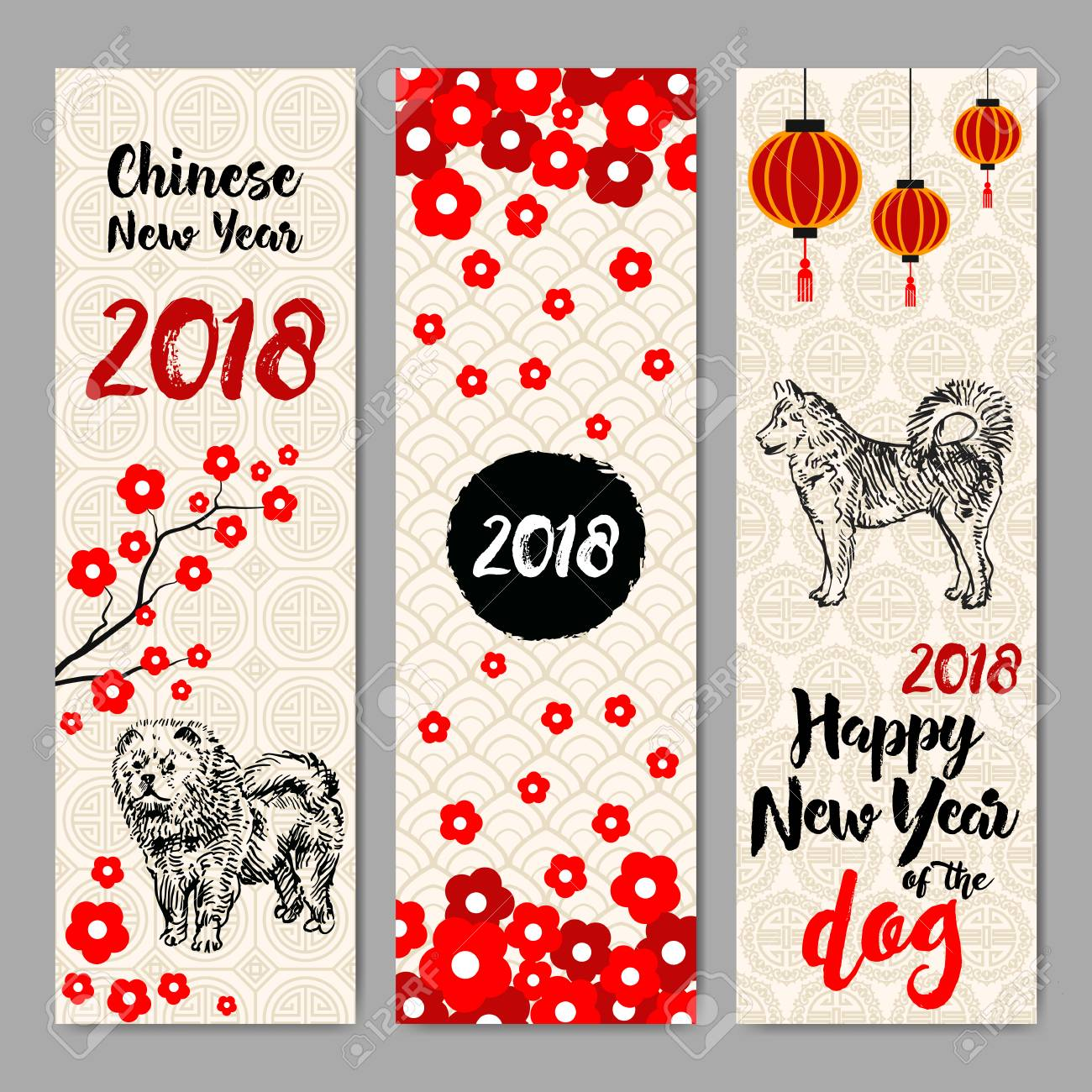 vector vertical hand drawn banners set with chinese new year 2018