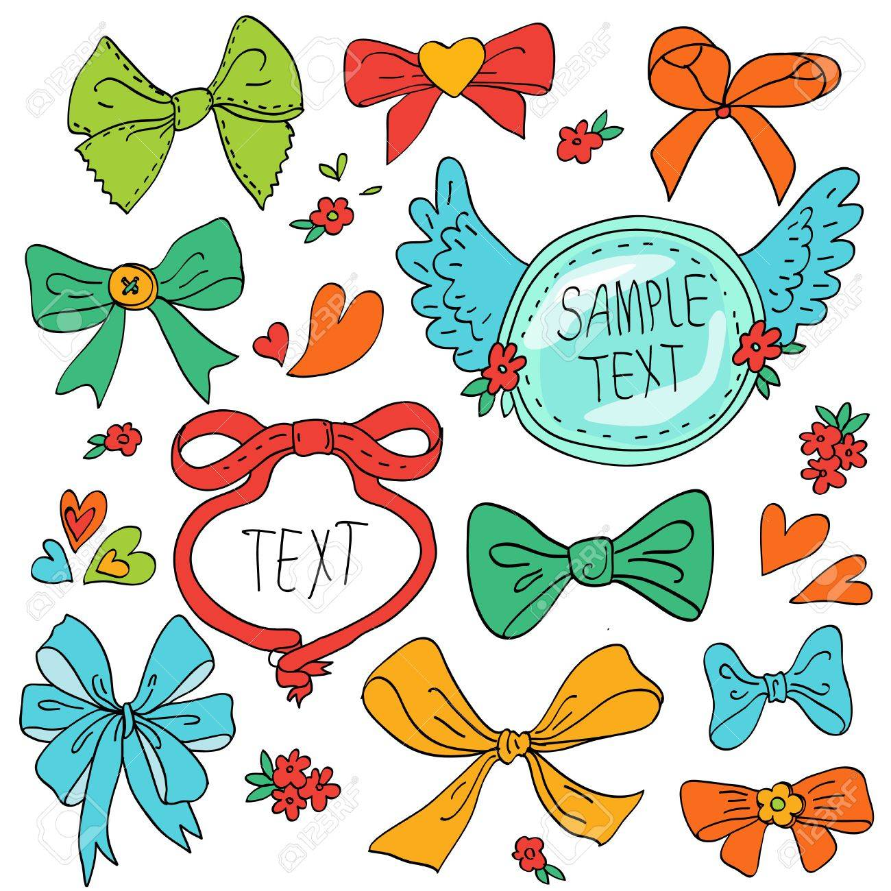 Bow set hand drawn with label. Colorful vector doodle illustration for girls. Stock Vector - 24232963