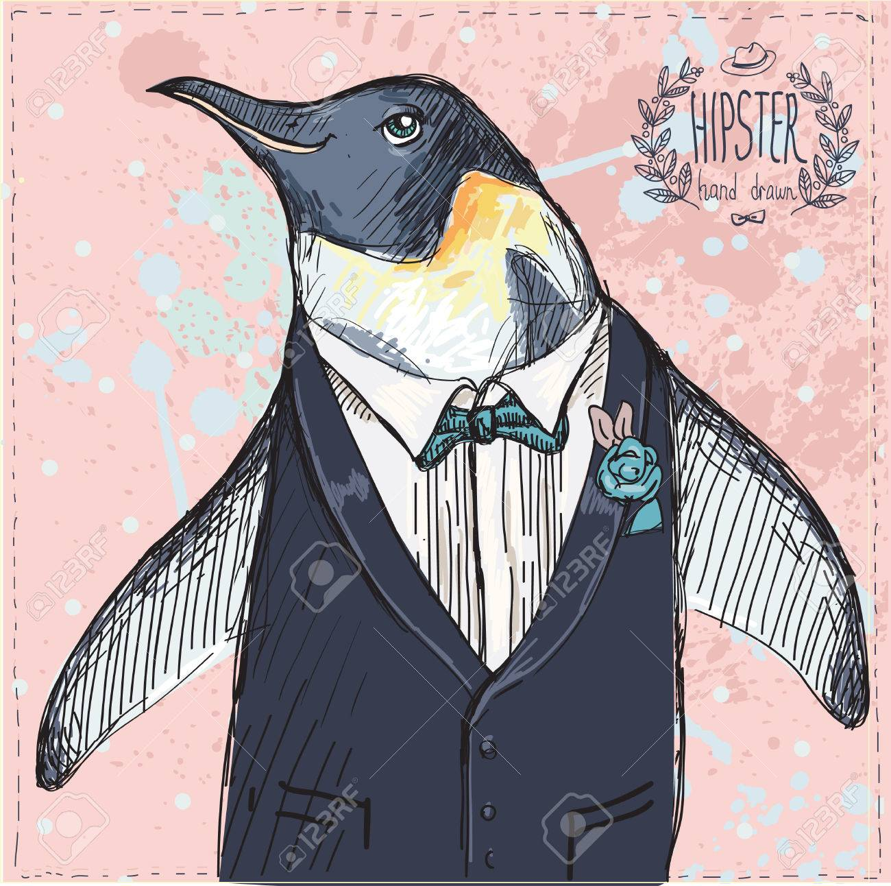 Vector Illustration of two Funny Penguins dressed in Retro Style Isolated on geometric background - 25126193