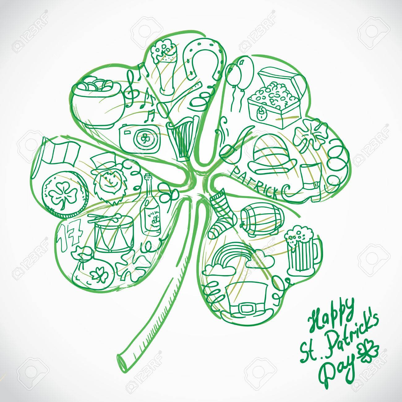 St. Patrick's greeting card. St. Patricks day with clover. Illustration Stock Vector - 26161467